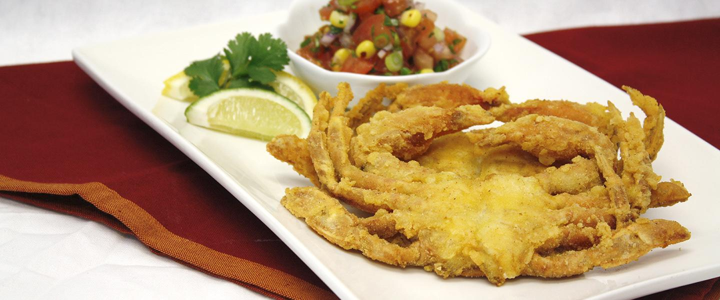 corn dusted soft shell crab