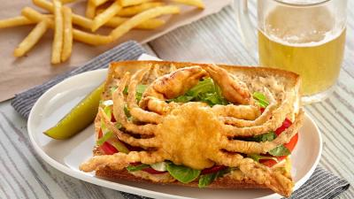 Enjoy Handy's Soft Shell Po Boy