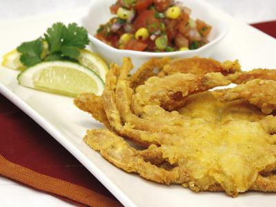 Corn flour dusted soft shell crabs